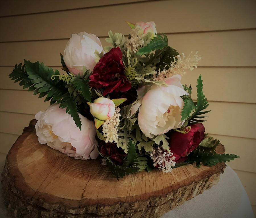 Blush Pink And Burgundy Peony Bridal Keepsake Wedding Bouquet, Faux ...