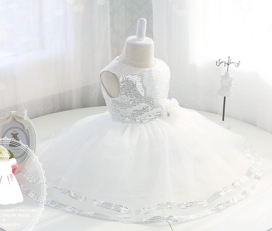 Mariage - Bling Bling Newborn Party Dress, Flower Girl Dress Tulle, Baby Girl Dress for Birthday Party, PD003-2