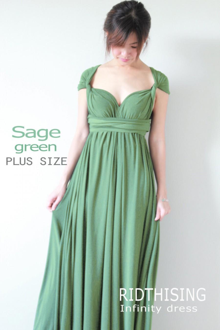 Mariage - Plus Size Sage Green Bridesmaid Dress Maxi infinity Dress Prom Dress Convertible Dress Wrap Dress