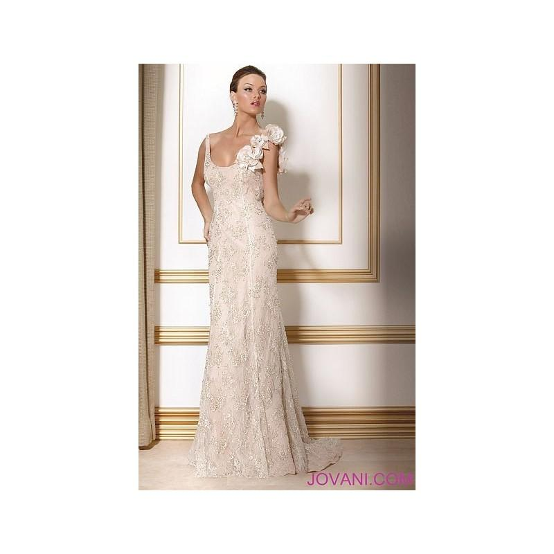 Jovani Ivory Gold One Shoulder Evening Dress With Flowers 159918 ...