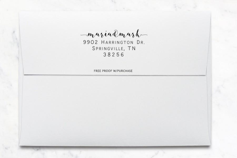 Свадьба - Address Stamp -  Modern Calligraphy Return Address Stamp featuring the Couple's First Names Self-inking or mounted with a handle. (20493)
