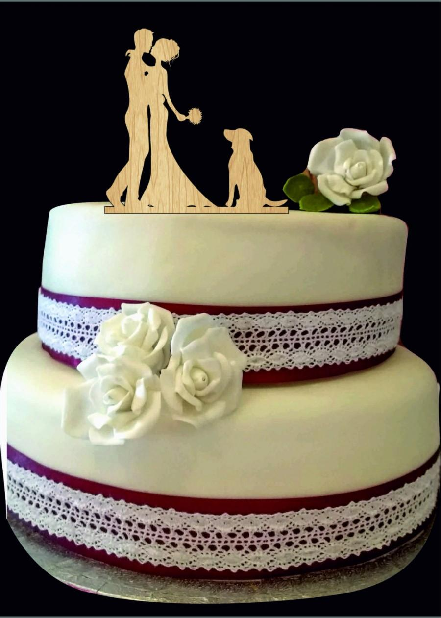 Mariage - Silhouette Wedding Cake topper with dog, Bride and groom cake topper, Custom dog cake topper for wedding, Unique Rustic wedding cake topper
