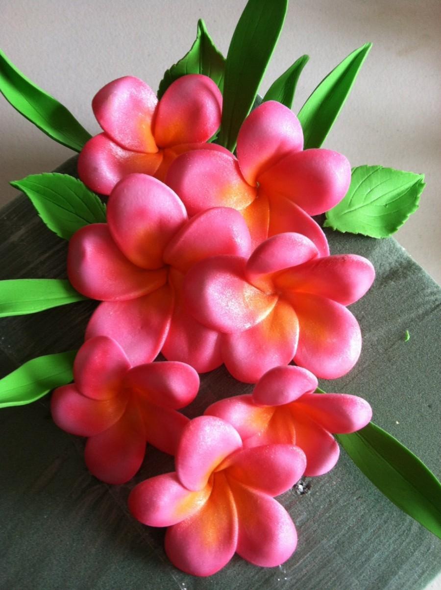 Свадьба - Gum Paste Hawaiian Plumeria Pink and Yellow