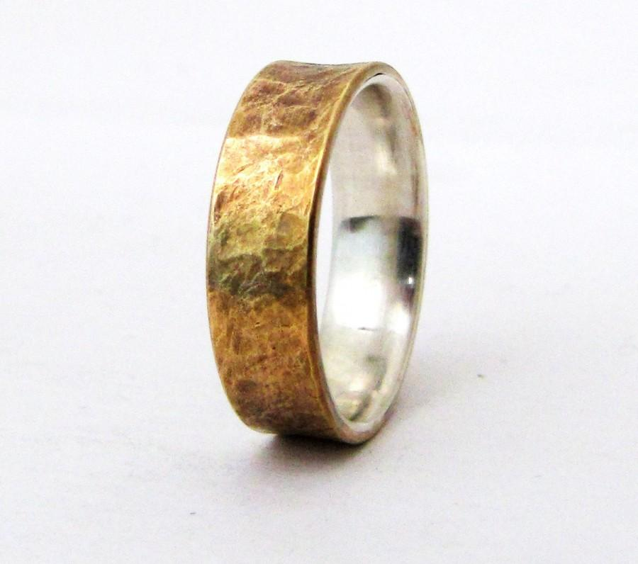 Свадьба - Brass Distressed Ring Silver Liner Rustic Wedding Band Mens Rugged Unique Wedding Rings Rustic Wedding Bands Gift for Him- Relic Artifact