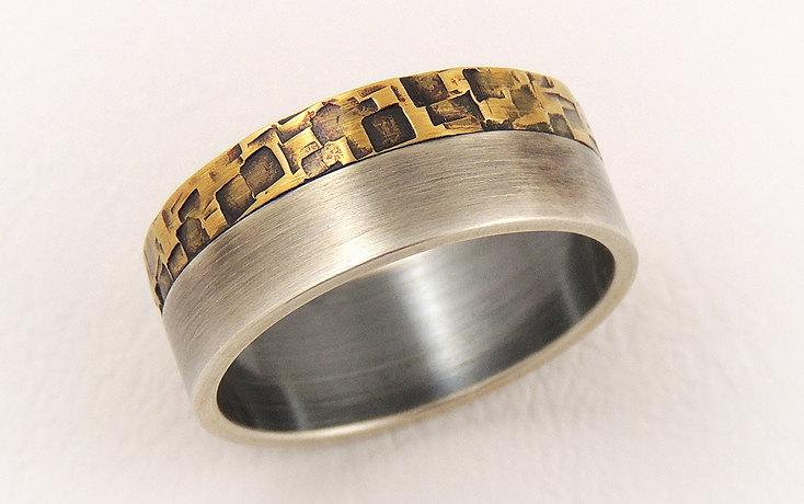 Свадьба - Elegant engagement ring for men - man wedding band ring,sterling silver and  rustic brass