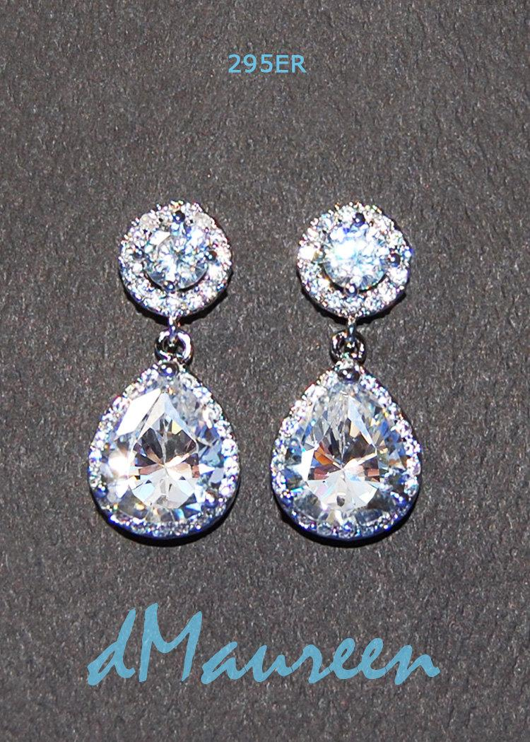 Cz Bridal Jewelry 295er Halo Round & Pear Cubic Zirconia Earrings White  Gold Cz Bridal Earrings Wedding Jewelry White Gold Earrings