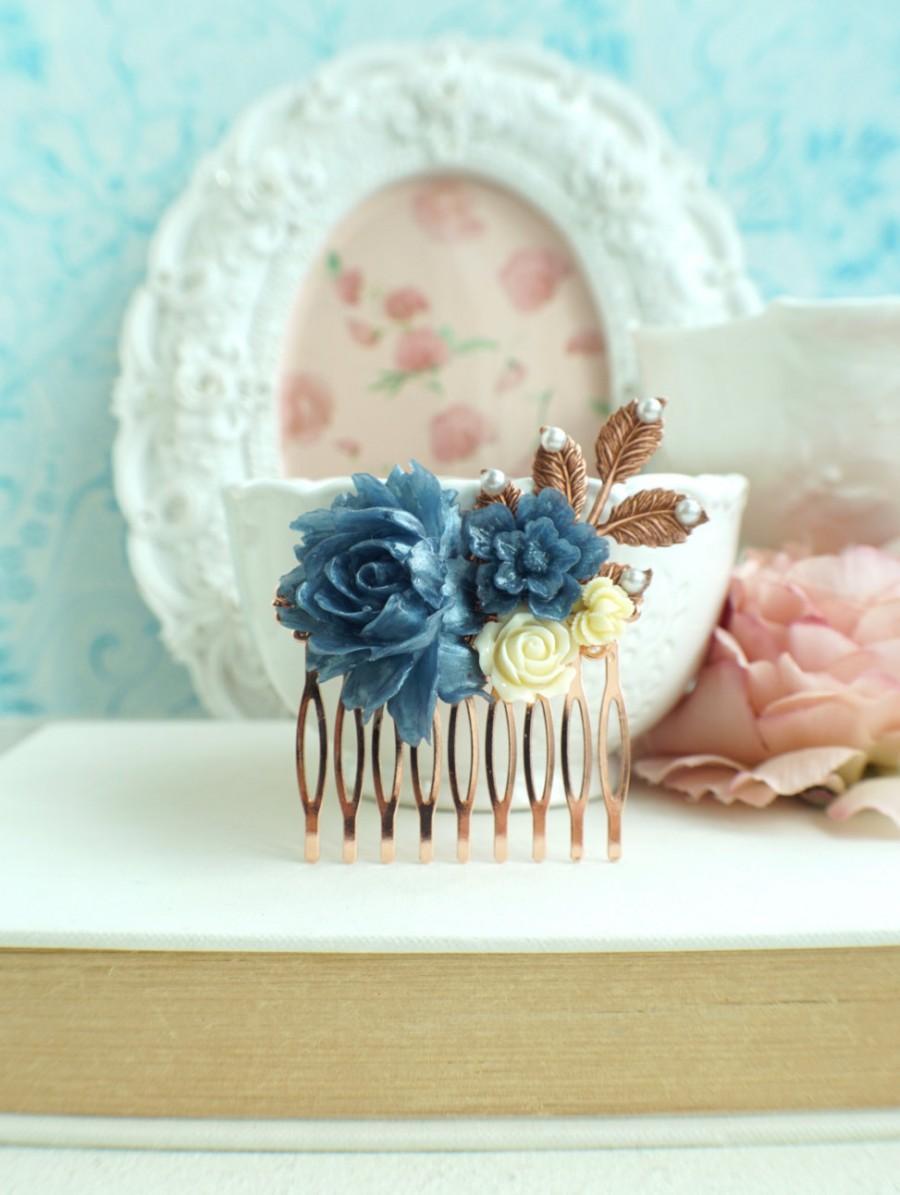 Свадьба - Rose Gold Bridal Comb, Navy Blue Flower Hair Comb, Rose Gold Blue Rose Comb, Rose Gold Blue Wedding Comb, Navy Blue Something Blue Wedding