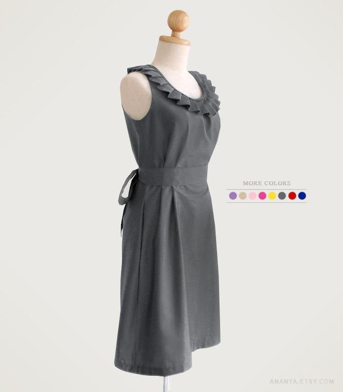Mariage - Fully lined pleated collar dress with pockets, removable sash - custom size, length, colors in gray black navy blue red mustard yellow green