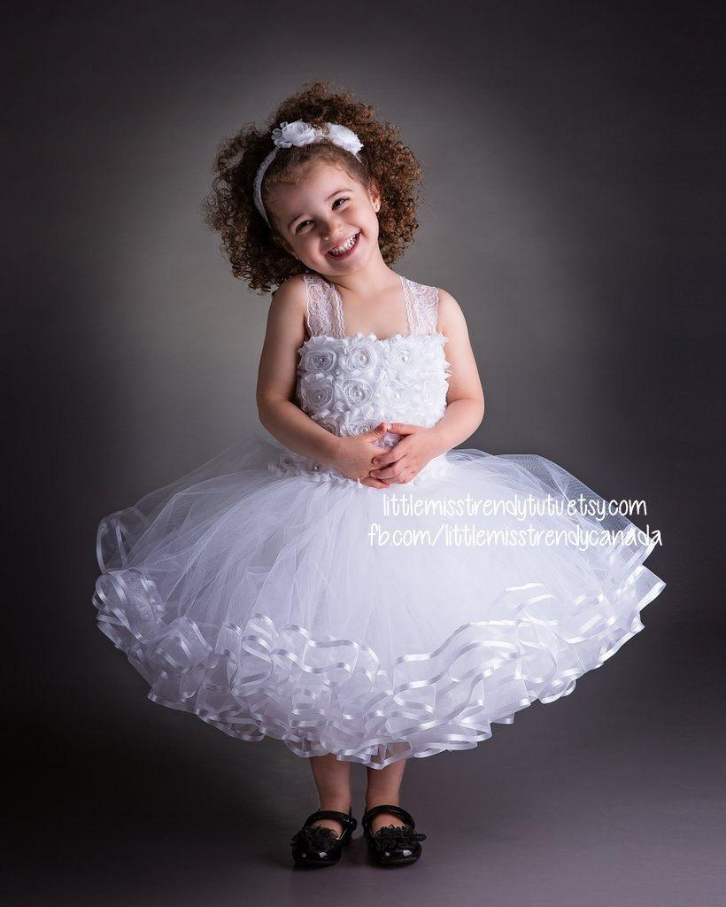 Wedding - White Flower Girl Tutu Dress, White Couture Tutu Dress, Ribbon Trim Tutu Dress, White Tutu Dress, Flower Tutu Dress, White Tutu,Couture Tutu