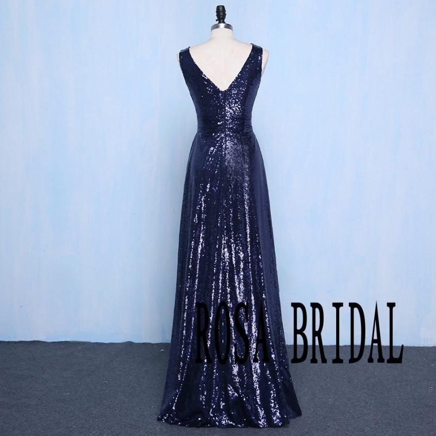 Mariage - Sequin Bridesmaid Dress Navy Blue Long V Neck Sequins Wedding Prom Dress Custom Size color