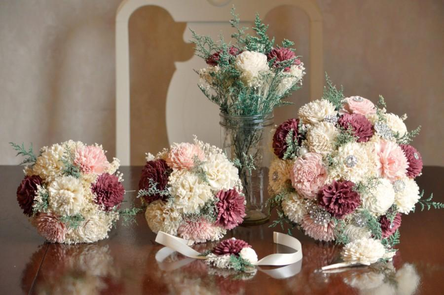 Свадьба - Burgundy and Blush Wedding Bouquets Sola Flowers and dried Flowers Bride or Bridesmaid Keepsake Bouquets
