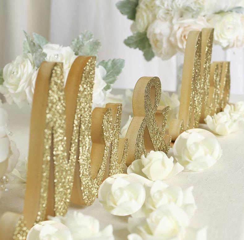 Свадьба - Large Thick Mr & Mrs Sign Set for Wedding Sweetheart Table, Mr and Mrs Letters, home decorations