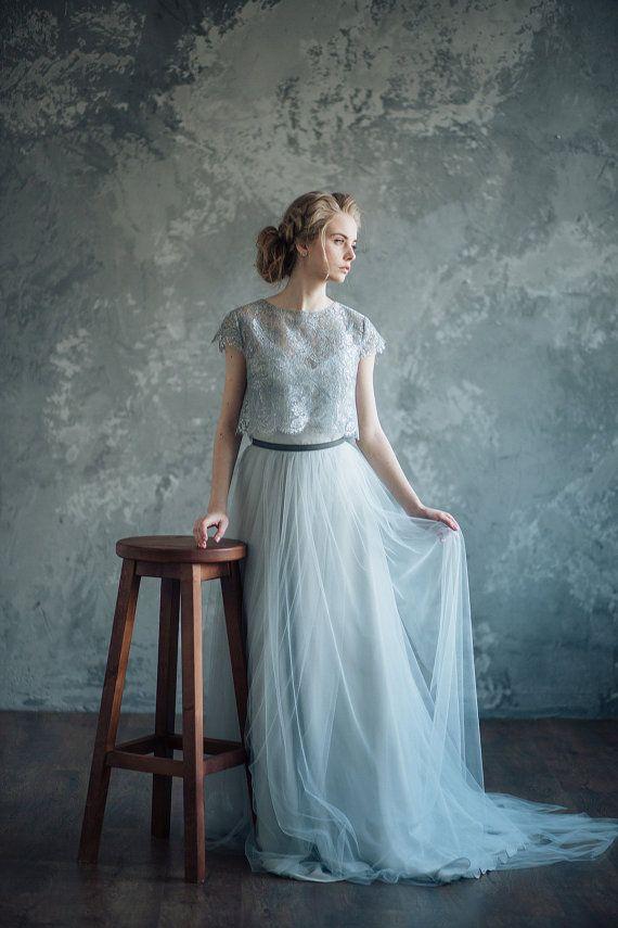 Wedding - Bluish Gray Wedding Dress - Borgia