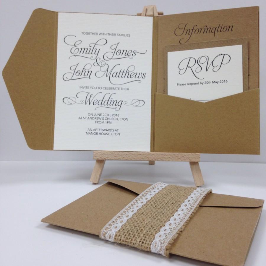 Kraft Burlap And Lace Pocket Fold Wedding Invitation Pack #2654642 ...