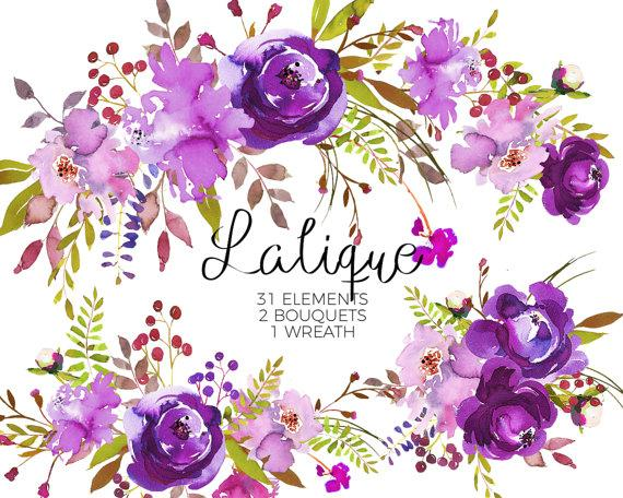 Purple Watercolor Flowers Clipart Set Wedding Floral Bouquets Green Red Peony Roses Clip Art Digital Elements DIY Invitation