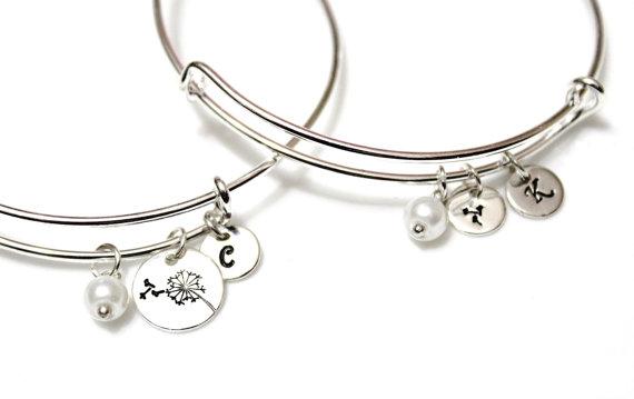 Dandelion Bracelet Set Bangle Mother Daughter Jewelry Adjule Gift For Her