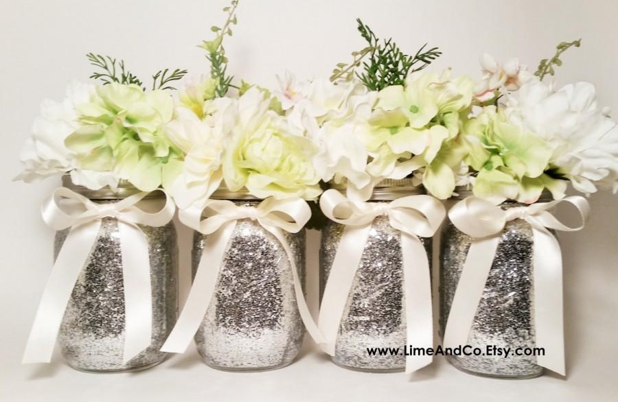 Amazing Mason Jar Home Decor Ideas Part - 13: Mason Jar Centerpieces, Wedding Centerpiece, Birthday Party Decorations,  Glitter Mason Jars, Home Decor, Graduation Centerpieces, Set Of 4