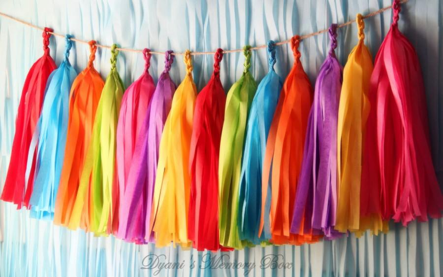 Mariage - FIESTA Handmade Tissue Tassel Garland / Fiesta Tassel Backdrop / Fiesta Bunting / Bright Colors Garland