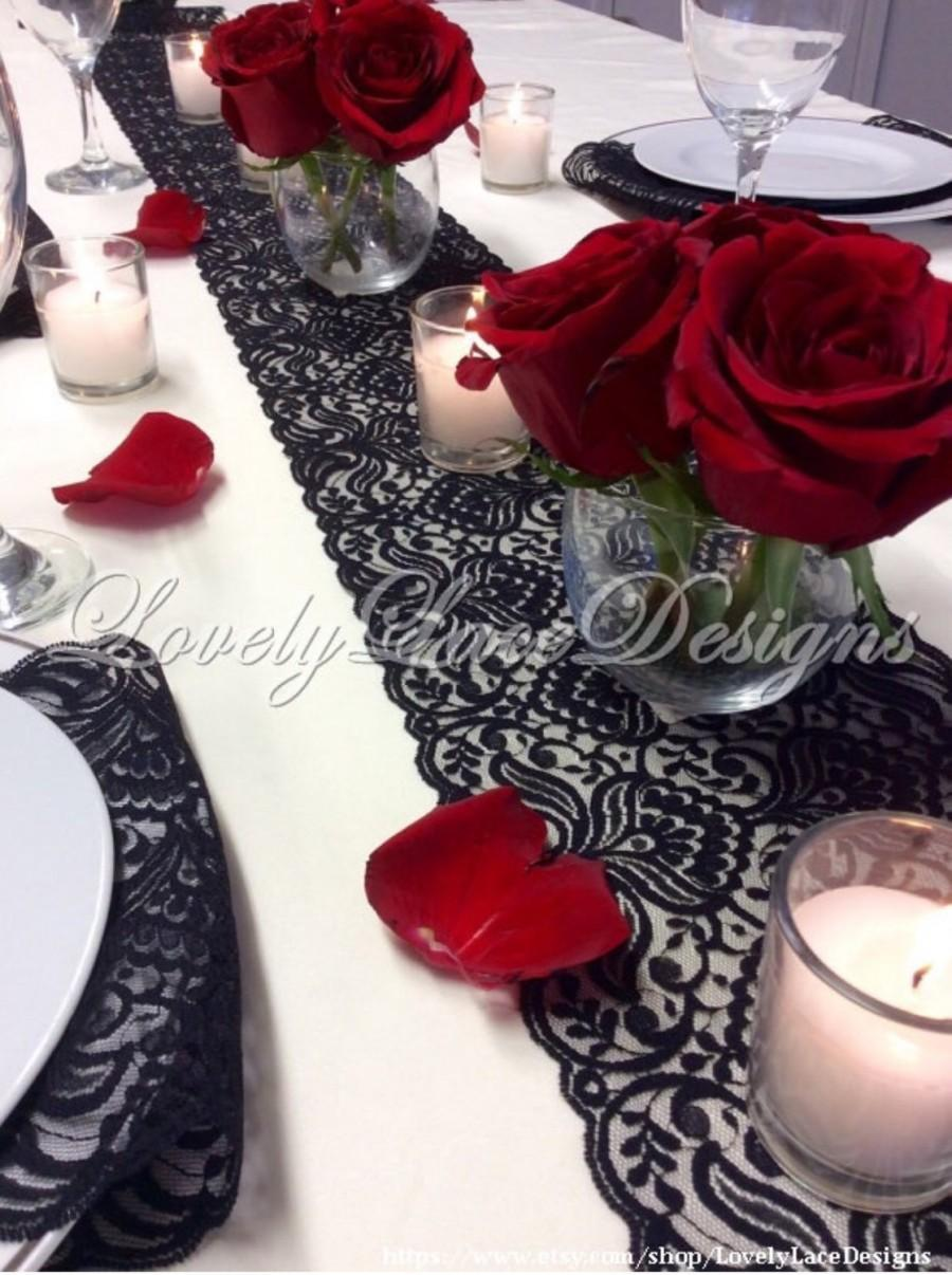 Mariage - BLACK Lace Table Runner, 3ft-10ft x 7in Wide, Lace Table Overlay/Table Decor, Weddings, Tabletop Decor/Wedding Decor/centerpiece/valentines