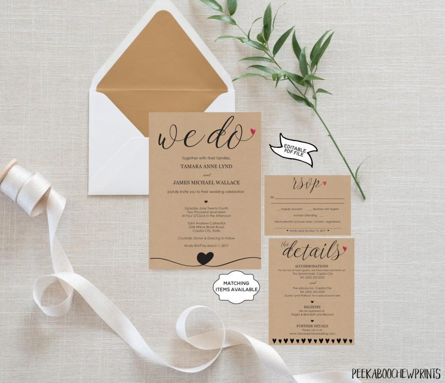 Wedding Invitation Template Set We Do RSVP Card Details Editable Printable DIY Rustic Bohemian Kraft Simple PCWDWS