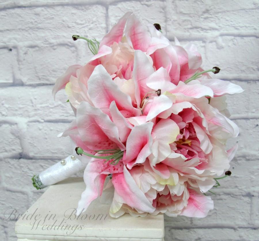 Pink Stargazer Lily Wedding Bouquet Peony Silk Bridal Flowers