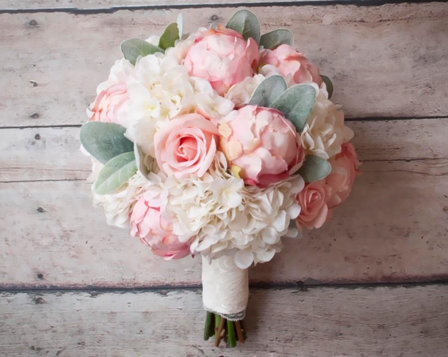 Hochzeit - Shabby Chic Wedding Bouquet - Peony Rose and Hydrangea Ivory and Blush Wedding Bouquet with Lace Wrap and Lambs Ear