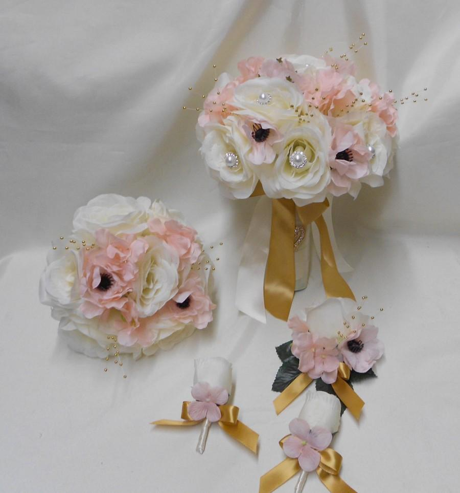 Wedding Silk Flower Bridal Bouquet 18 Pieces Package Ivory Pink