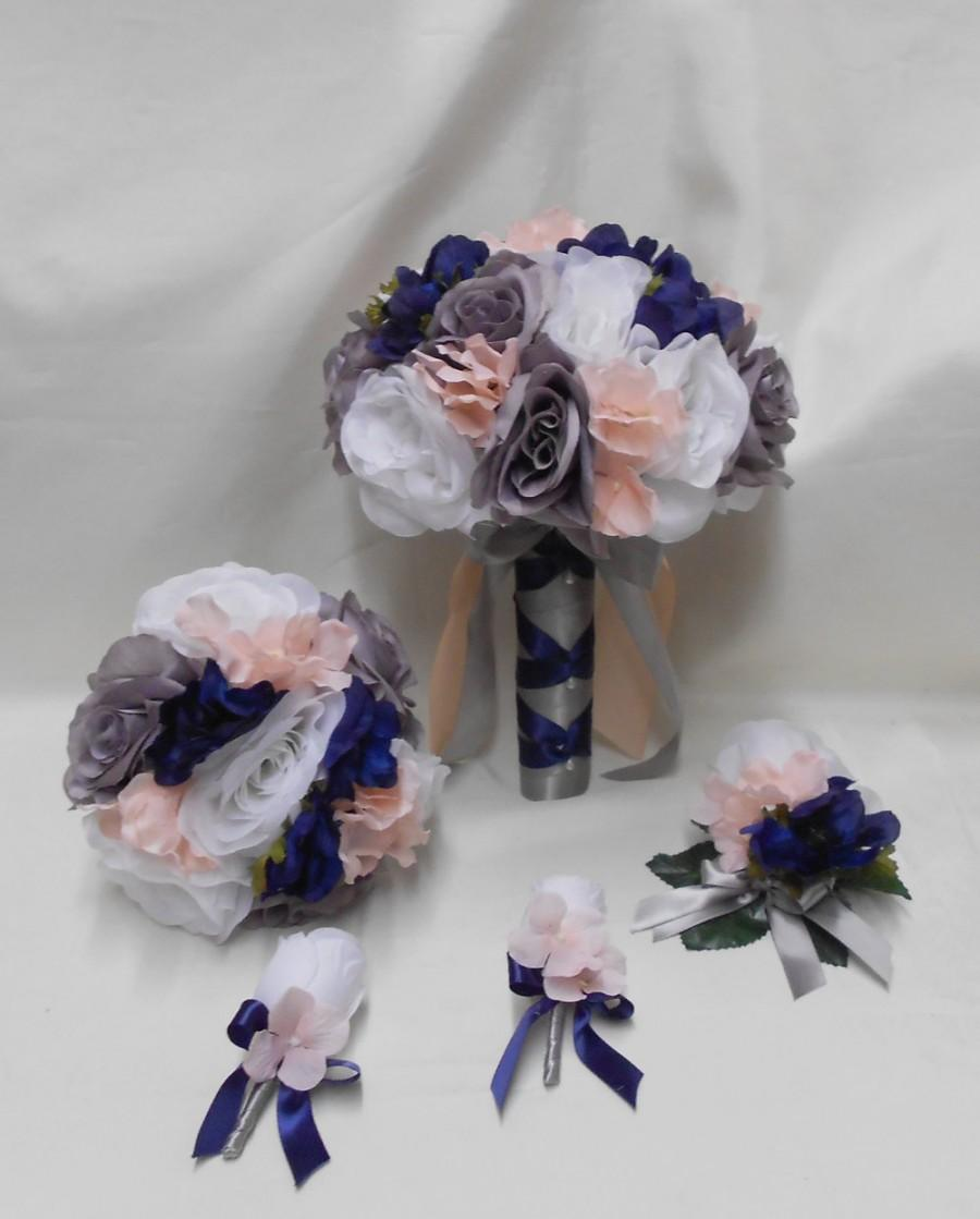 Mariage - Wedding Silk Flower Bridal Bouquets 18 pcs Package White Grey Navy Blue Pink/Blush Toss Bridesmaids  Boutonnieres Corsages FREE SHIPPING