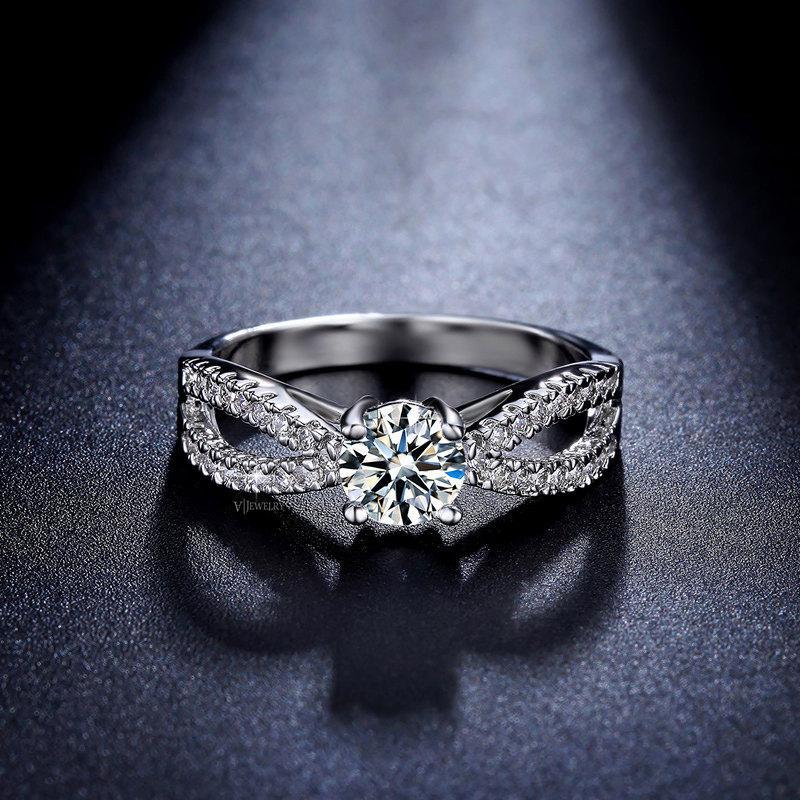 زفاف - Art Deco Engagement Ring - Promise Ring - Round Cut - Solitaire - Vintage Inspired Ring - Antique Style - Delicate Ring - Infinity - AR0023