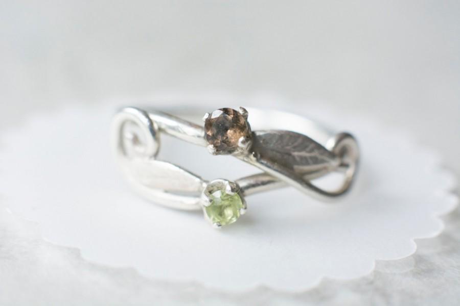 Mariage - Swirly Elvish Forest Leaf Engagement Ring with stones: Peridot, Smokey Quartz, Topaz, Amethyst, Garnet, Emerald, Sapphire, Alexandrite