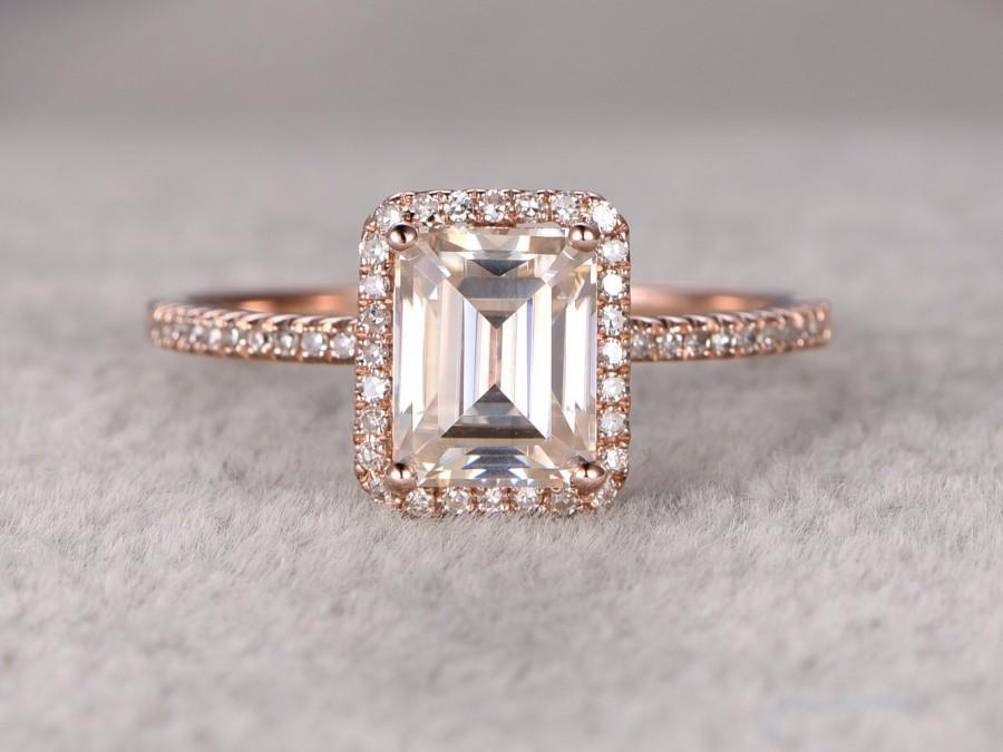 Mariage - 1.8ct Moissanite Engagement ring 14k Rose gold,Diamond wedding band,6x8mm Emerald Cut Gemstone Promise Bridal Ring,Anniversary,New design