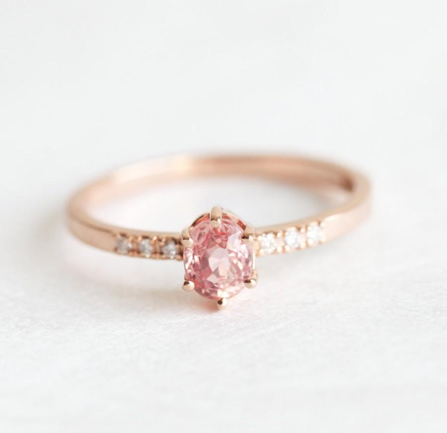 Hochzeit - Rose Gold Sapphire Engagement Ring, Simple Engagement Ring, Stacking Peach Sapphire Ring, Tiny Sapphire Ring, Pink Sapphire Ring
