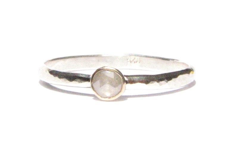 زفاف - Rose Cut Diamond Ring -Solid 14k Gold & Silver Ring -Tiny Diamond Ring -Stacking Ring -Engagement Ring -Gold and Silver Ring -READY TO SHIP!