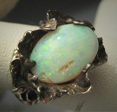 Wedding - Antique Australian Opal Ring Wedding Art Nouveau Modernist Vintage 50s