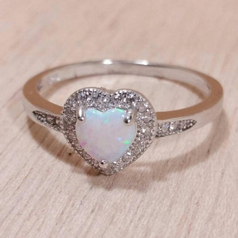 Wedding - Opal Ring Heart Sterling Silver with Sparkly CZ accents - Opal Promise Ring - Opal Engagement Ring - Opal Prom Ring - Opal Statement Ring