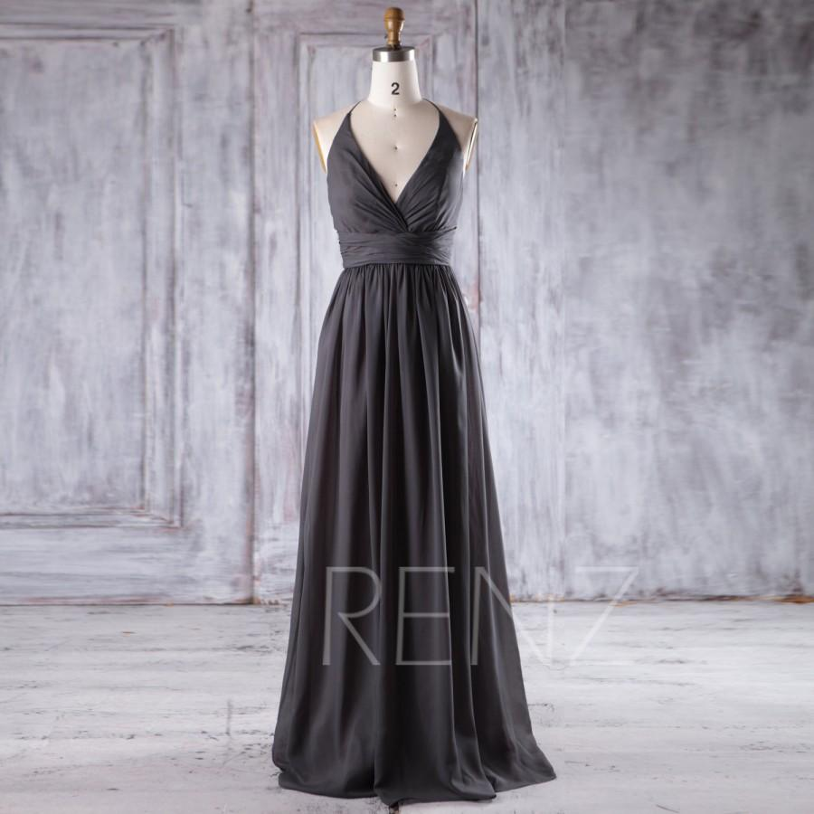 2016 charcoal gray chiffon bridesmaid dress deep v neck for Charcoal dresses for weddings