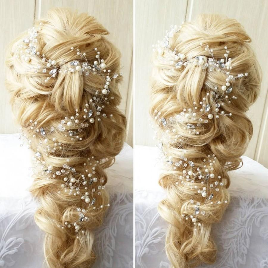 زفاف - Free SHIPPING!Long hair vine,Bridal hair vine,Crystals Bridal Wedding, Bridal Hair Vine,Wedding hair-vine,pearl hair vine