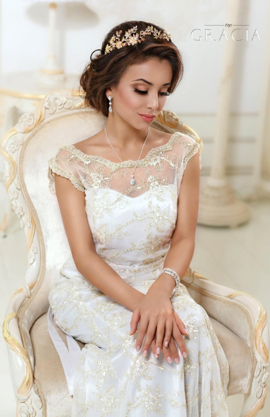 Mariage - Leaf Gold Bridal tiara Wedding crown Leaf headband Rhinestone Gold bridal headpiece Gold hair accessories Silver Wedding tiara headpiece