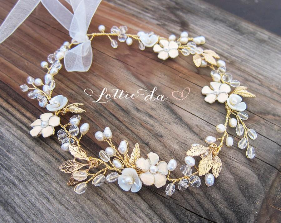 Mariage - Boho Gold Hair Flower Crown, Halo Hair Wrap, Gold Hair Wreath, Gold Wedding Flower Hair Vine, Boho Wedding Headpiece - 'BELLA'