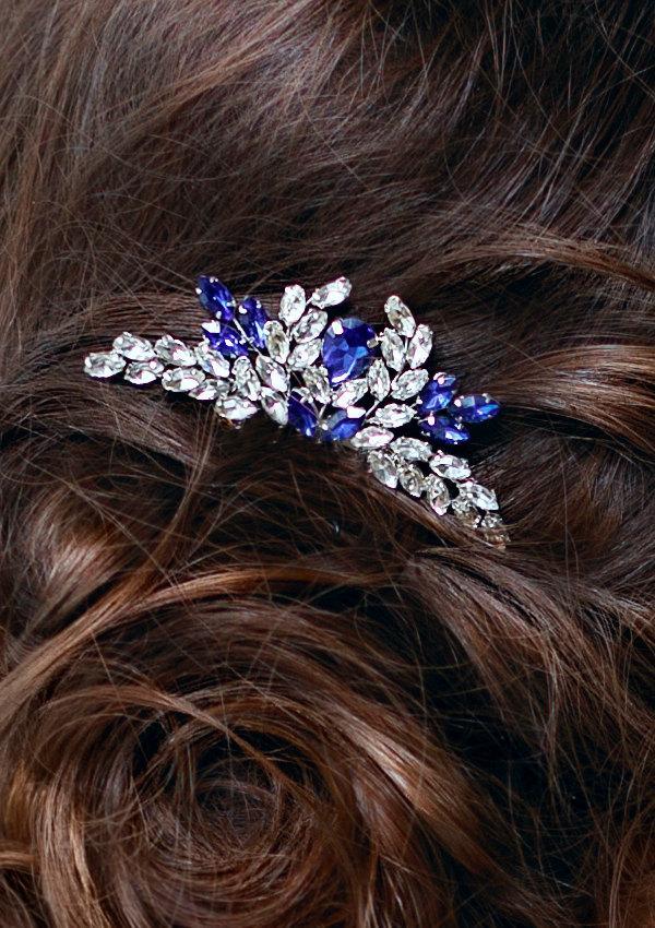 Hochzeit - Blue Bridal hair comb Something blue Wedding hair comb Navy blue Wedding Hair accessory Rhinestone hair comb Sapphire blue Crystal hair comb