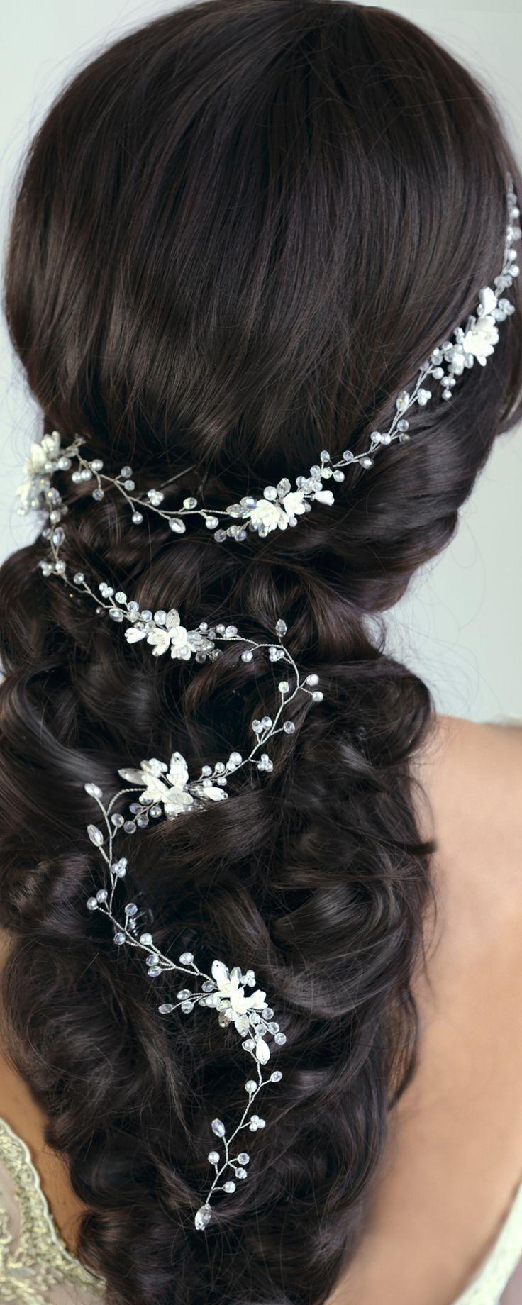 Mariage - Bridal Hair Vine Wedding Hair Vine Flower Hair Vine Long Hair Vine Gold Pearl Hair Vine Bohemian Bridal Headpiece