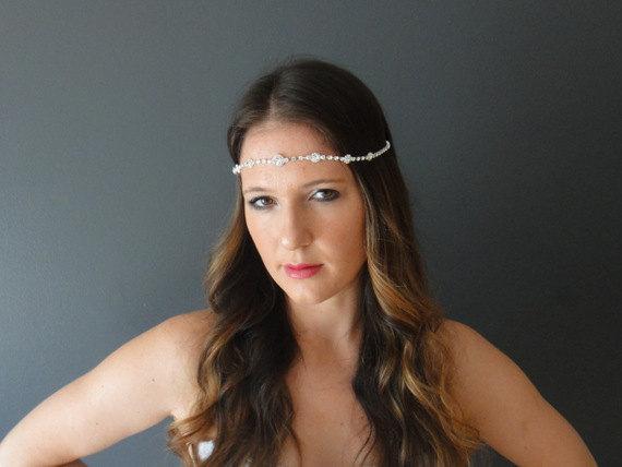 Mariage - Wedding Headband, Bridal Halo, Wedding Forehead Band, Bridal Head Chain, Crystal Headband, Bridal  Forehead band