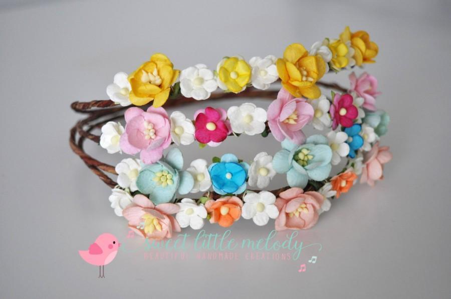 Mariage - Flower Headband, Flowergirl Headband, Floral Headband Crown, Flower Headband for Baby, Girl Headband, Floral Baby Headband, Baby Headbands