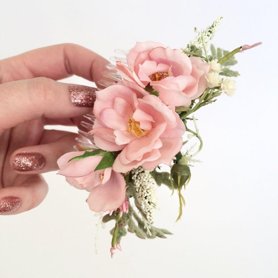 Mariage - Pink Flower Comb- Rose Bridesmaids Hair Accessory-  Blush Flower Hair Comb- Boho Wedding Headpiece- Blush Wedding Accessory