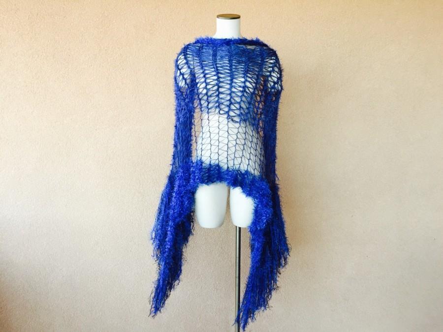 Mariage - Blue Wedding Fringe Wrap Cobalt Blue Shawl Electric Blue Shawl, Sapphire Blue Shawl Accessories Jewel Tone Shoulder Wrap