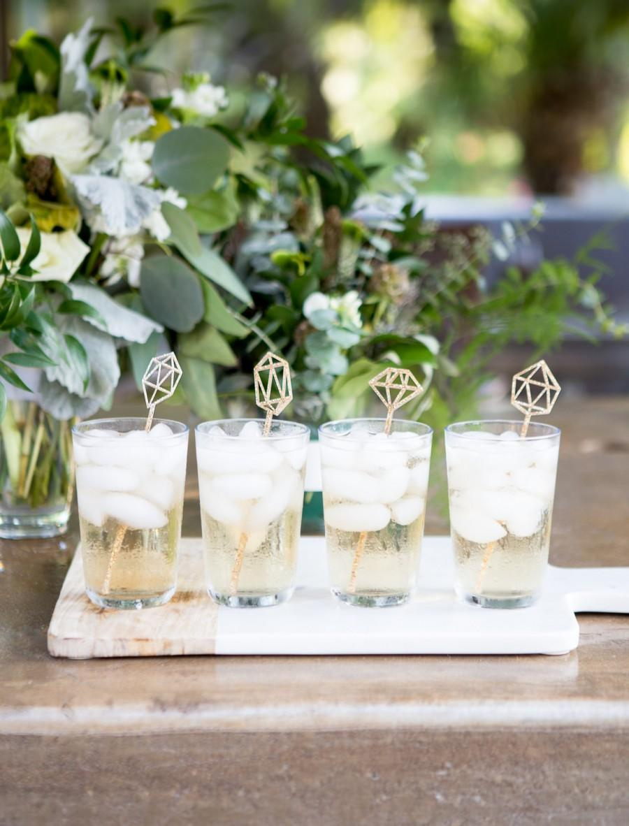 Wedding - Gemstone Stir Sticks, Engagement Bachelorette Bridal Shower Party Drink Stirrer Bar Decorations for Wedding Party Decor Gold (Item - GSS110)