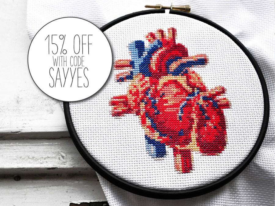 Modern Cross Stitch Pattern Heart Hand Embroidery Pattern