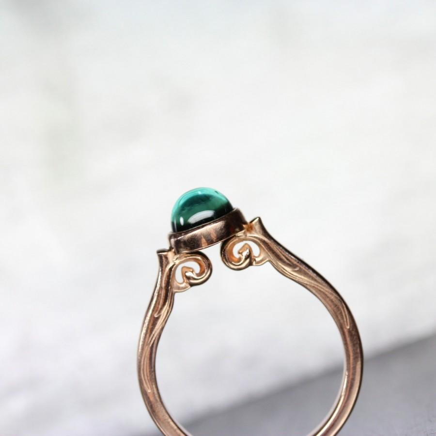 Свадьба - Indicolite Tourmaline 14K Rose Gold Engagement Ring Vintage Inspired Scroll Blue-Green Teal Gemstone Round Cab Brazil - Meermaid Cathedral