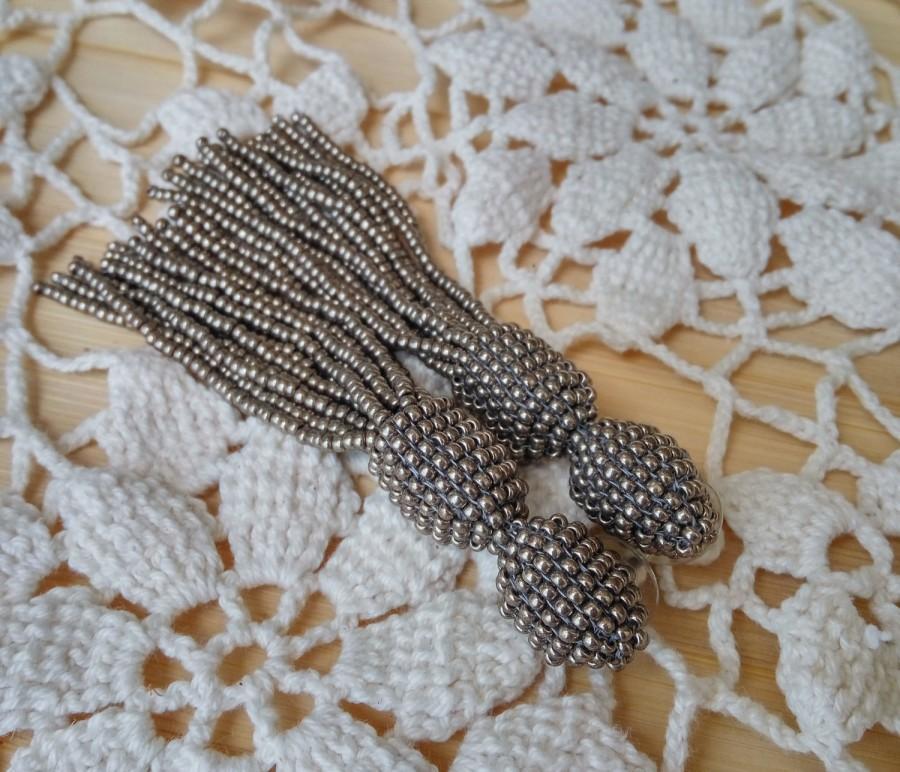 Mariage - Silver grey tassel beaded earrings long short trending oscar de la renta earrings clip stud drop earrings trend casual unusual gift fashion