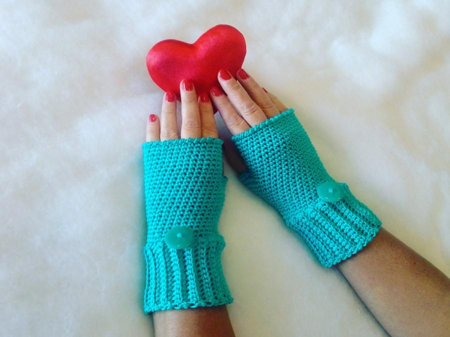 Mariage - Guanti senza dita azzurri - Blue fingerless gloves - Cotton gloves - Gloves handmade -  Gloves and mittens - Made in Italy - Handmade